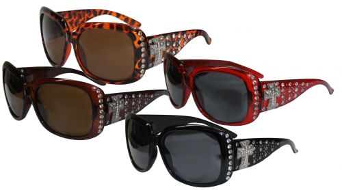 Ladies Bling Sunglasses with Engraved Cross Conchos