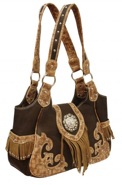 Brown leather purse with tan suede fringe trim and crystal rhinestone concho