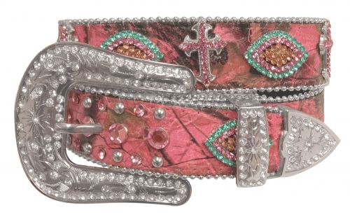 Showman Couture ™  Western style bling pink camo belt with removable buckle-Showman Couture ™  Western style bling pink camo belt with removable buckle