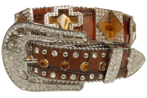 Showman Couture ™  Western style bling belt with amber color crystal rhinestones conchos and removable buckle-Showman Couture ™  Western style bling belt with amber color crystal rhinestones conchos and removable buckle
