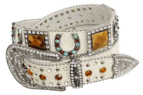 Showman Couture ™  Western style bling belt with crystal rhinestone horse shoe conchos and removable buckle-Showman Couture ™  Western style bling belt with crystal rhinestone horse shoe conchos and removable buckle