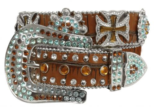 Showman Couture ™  Western style bling brown alligator print belt with cross conchos- Showman Couture ™  Western style bling brown alligator print belt with cross conchos