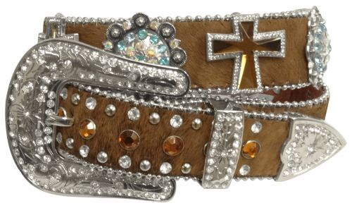 Showman Couture �  Western style bling hair on cowhide belt with crystal rhinestone cross conchos