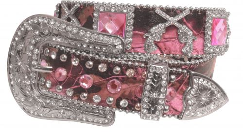 Showman Couture �  Western style bling pink camo belt with crossed guns conchos