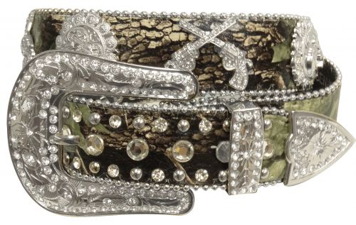 Showman Couture ™  Western style bling camo belt with crossed guns conchos-Showman Couture ™  Western style bling camo belt with crossed guns conchos