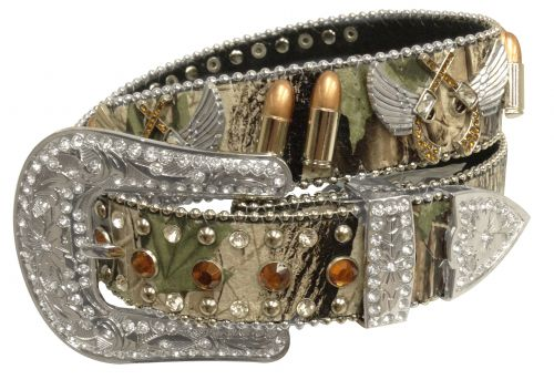 Showman Couture ™  Western style bling camo belt with removable buckle- Showman Couture ™  Western style bling camo belt with removable buckle