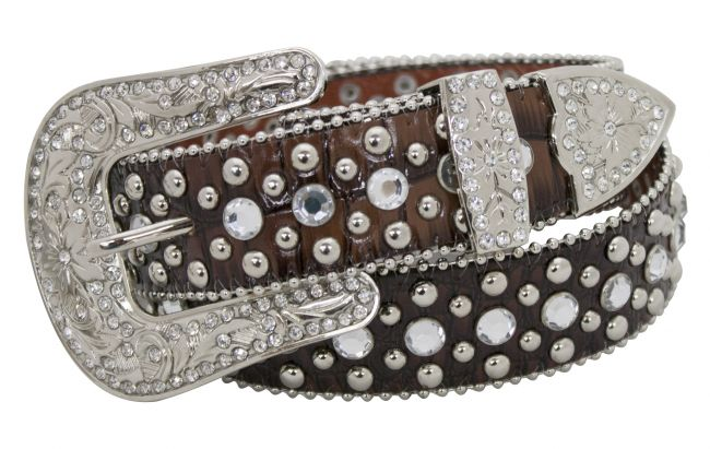 Showman Couture �  Western style snake print leather belt with crystal rhinestone rosette conchos and removable buckle.
