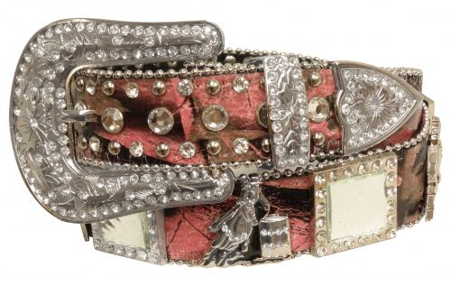 Showman Couture �  Western style bling pink camo belt with barrel racer conchos and removable buckle