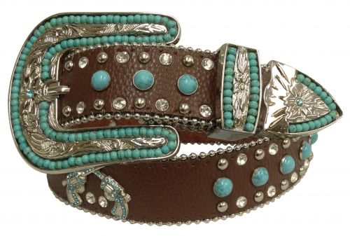 Showman Couture ™  Western style bling belt with crossed guns conchos and removable buckle- Showman Couture ™  Western style bling belt with crossed guns conchos and removable buckle