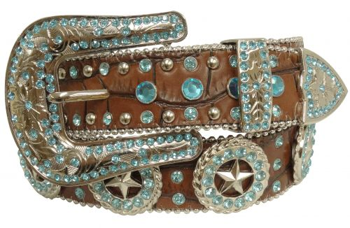 Showman Couture ™  Western style bling belt with Texas star conchos and removable buckle- Showman Couture ™  Western style bling belt with Texas star conchos and removable buckle