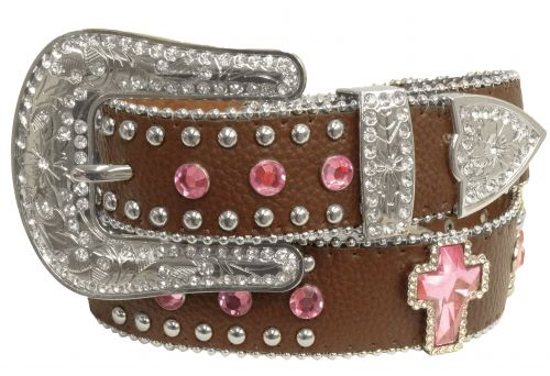 Showman Couture �  Western style bling belt with pink crystal rhinestone cross conchos and removable buckle