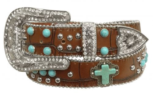 Showman Couture ™  Western style bling belt with turquoise stone cross conchos and removable buckle-Showman Couture ™  Western style bling belt with turquoise stone cross conchos and removable buckle