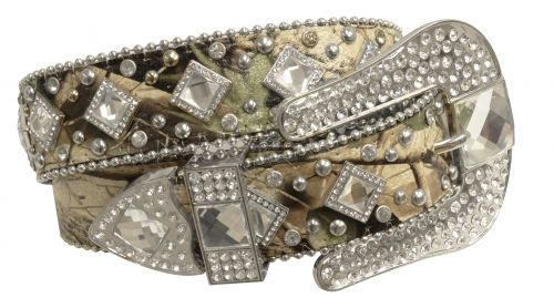 Showman Couture �  Western style bling camo belt with crystal rhinestone conchos and removable buckle