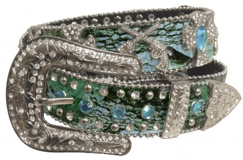 Showman Couture ™  Western style bling blue camo belt with removable buckle-Showman Couture ™  Western style bling blue camo belt with removable buckle