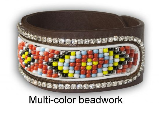 Beaded Navajo Leather Bracelet, multi-color-Beaded Navajo Leather Bracelet, multi-color