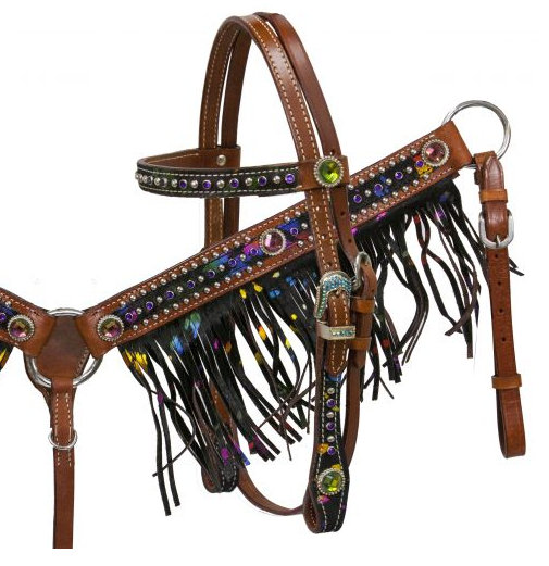 Pony size metallic splash hair on cowhide fringe headstall and breast collar set-Pony size metallic splash hair on cowhide fringe headstall and breast collar set