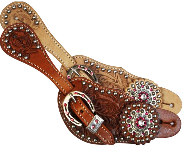 Showman™Ladies spur strap with acorn tooling accented with pink crystal rhinestones-Showman™Ladies spur strap with acorn tooling accented with pink crystal rhinestones