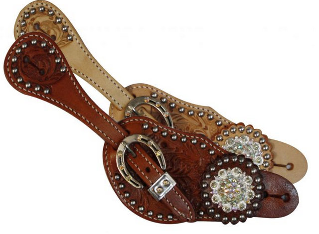 Showman® Ladies spur strap with acorn tooling accented with clear crystal rhinestones-Showman® Ladies spur strap with acorn tooling accented with clear crystal rhinestones
