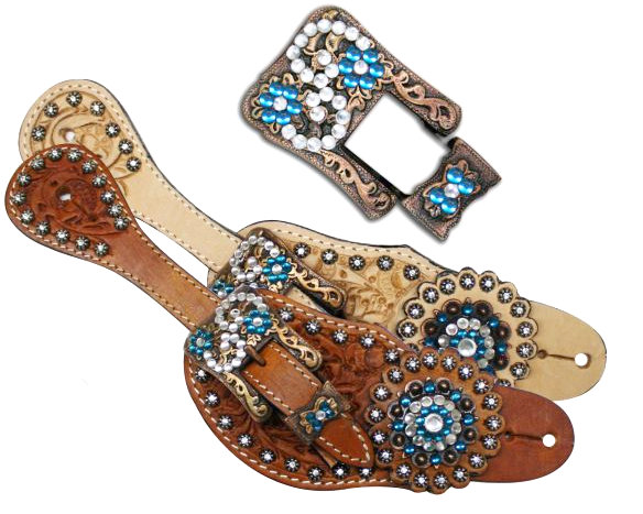 Showman™ Ladies Tooled Leather Spur Straps with Vintage Style Buckle and Crystal Rhinestone Conchos-Showman™ Ladies Tooled Leather Spur Straps with Vintage Style Buckle and Crystal Rhinestone Conchos