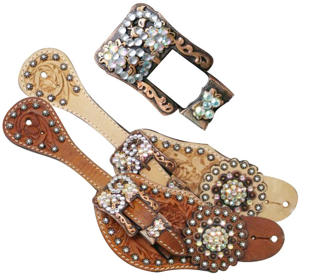 Showman™ Ladies Tooled Leather Spur Straps with Vintage Style Buckle and Crystal Rhinestone Conchos- Showman™ Ladies Tooled Leather Spur Straps with Vintage Style Buckle and Crystal Rhinestone Conchos