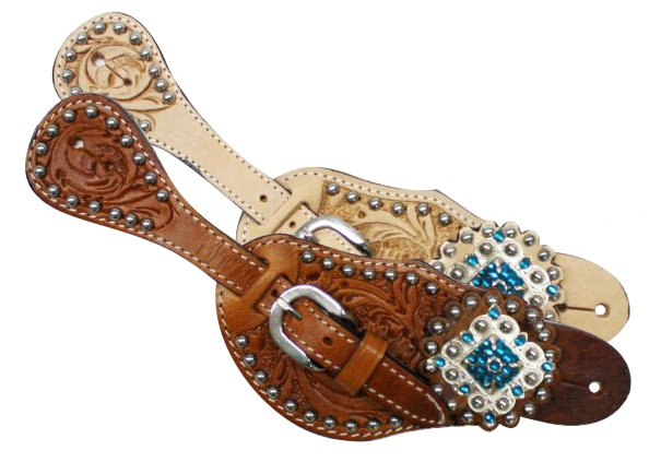 Showman™  Ladies Tooled Leather Spur Straps with Diamond Shaped Blue Rhinestone Conchos- Showman™  Ladies Tooled Leather Spur Straps with Diamond Shaped Blue Rhinestone Conchos