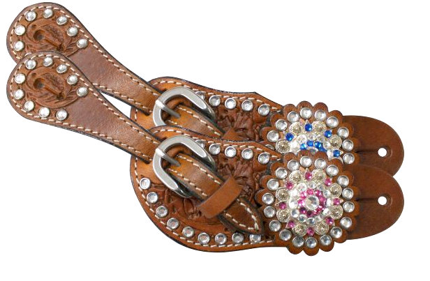 Showman ® Youth crystal rhinestone spur straps.-Showman ® Youth crystal rhinestone spur straps.