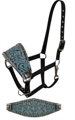FULL SIZE Adjustable bronc style halter with filigree print accented with copper colored small studs and engraved conchos-FULL SIZE Adjustable bronc style halter with filigree print accented with copper colored small studs and engraved conchos