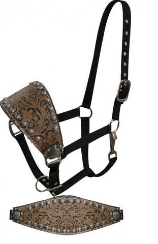 Adjustable bronc style halter with filigree print accented with small studs and engraved conchos.