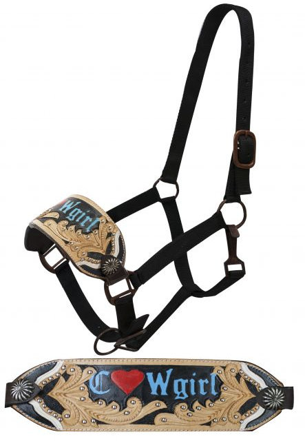 "FULL SIZE Bronc halter with ""Cowgirl""  and filigree tooling."
