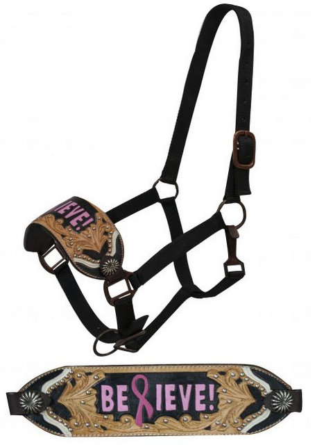 "FULL SIZE  BREAST CANCER AWARENESS Bronc halter with painted  ""Believe!""-FULL SIZE  BREAST CANCER AWARENESS Bronc halter with painted  Believe!"