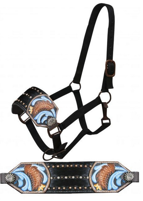 FULL SIZE Bronc halter with hair-on cowhide inlay and painted floral tooling.-FULL SIZE Bronc halter with hair-on cowhide inlay and painted floral tooling.