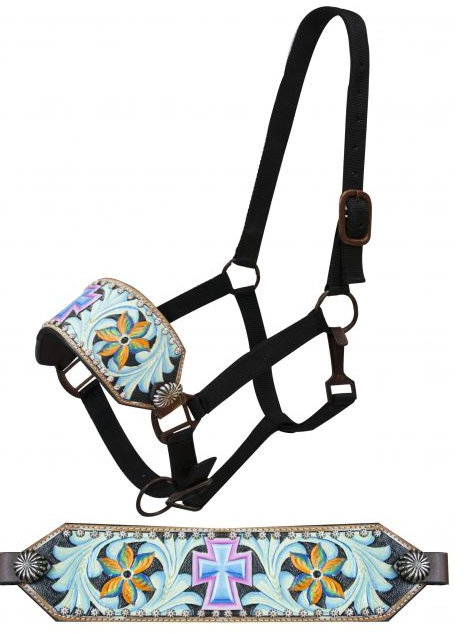 FULL SIZE Bronc halter with painted cross and painted filigree tooling.