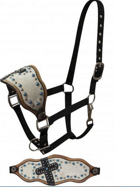 FULL SIZE  Bronc halter with hair on cowhide and alligator print cross.- FULL SIZE  Bronc halter with hair on cowhide and alligator print cross.