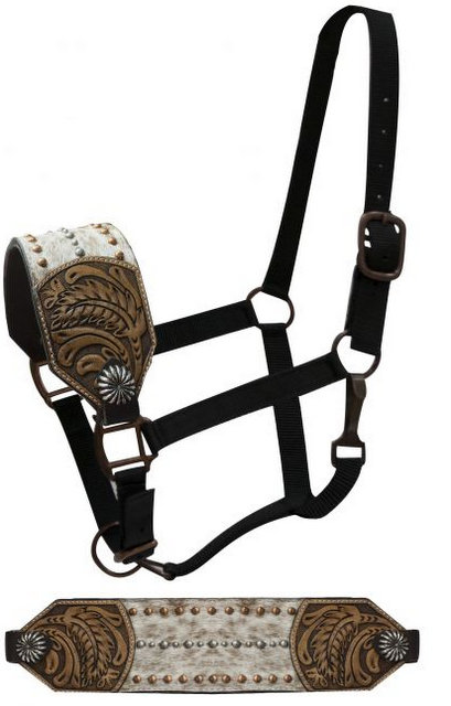 FULL SIZE Bronc halter with hair on noseband accented with floral tooling on sides.-FULL SIZE Bronc halter with hair on noseband accented with floral tooling on sides.