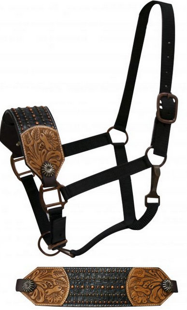 FULL SIZE Leather bronc halter with floral tooling.