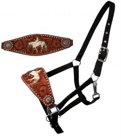 nylon bronc halter with cut out hair on cowhide horse and rider-nylon bronc halter with cut out hair on cowhide horse and rider