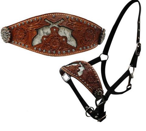 nylon bronc halter with cut out hair on cowhide dueling guns