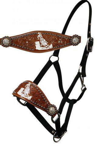 adjustable nose nylon bronc halter with floral tooling and barrel racer logo