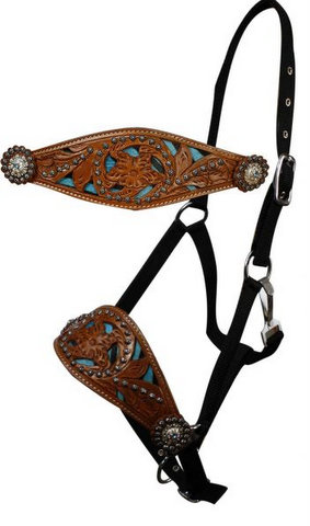 adjustable nose nylon bronc halter with hair on zebra print with a cut out floral tooling and crystal rhinestone conchos