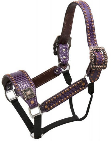 Purple snake print belt style halter with copper accents