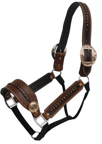 Belt Halter with Gold and Silver Engraved Buckles