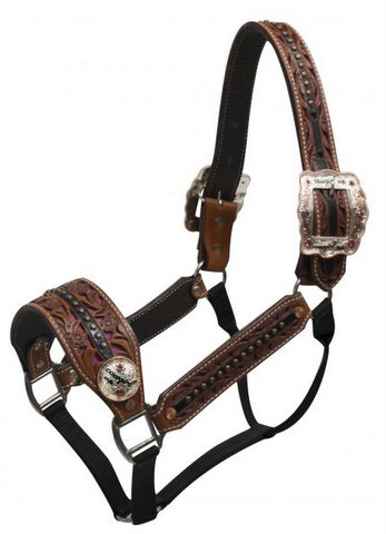 "Belt Halter with ""Cowgirl Up"" Conchos and Buckles"