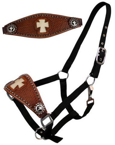 nylon bronc halter with cut out hair on cowhide cross.-nylon bronc halter with cut out hair on cowhide cross.