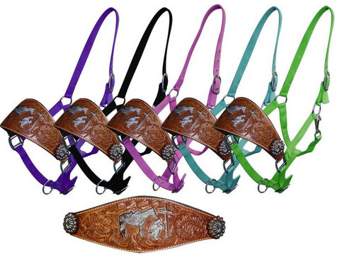nylon bronc halter with cut out hair on cowhide praying cowboy