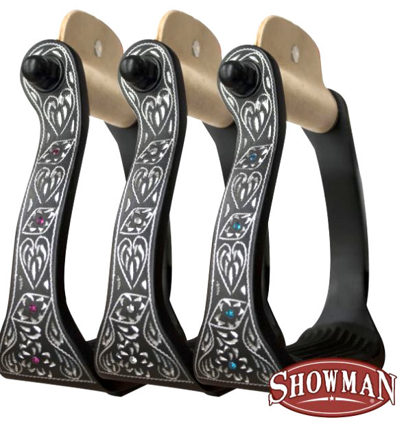 Black engraved aluminum stirrups with rhinestones.-Black engraved aluminum stirrups with rhinestones.