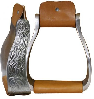 "Aluminum engraved off set stirrups. 3"" neck, 5"" wide and 2.25"" tread."
