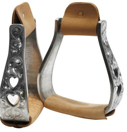 aluminum polished engraved stirrups with cut out heart design.-aluminum polished engraved stirrups with cut out heart design.