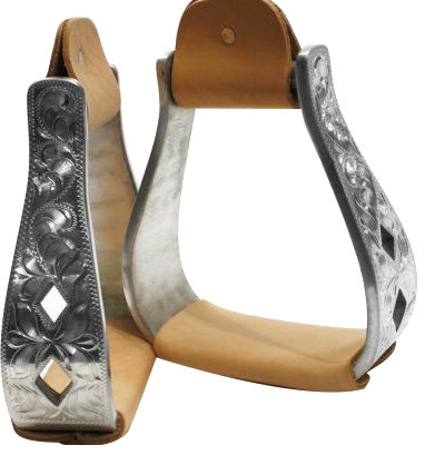 aluminum polished engraved stirrups with cut out diamond design.-aluminum polished engraved stirrups with cut out diamond design.