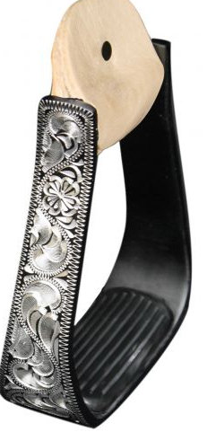 Black Aluminum stirrups with Silver Engraving. Removable Rubber Grip Tread.