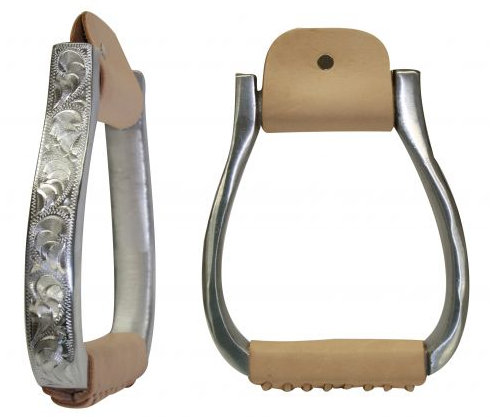 Polished aluminum engraved barrel stirrups
